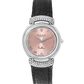 Rolex Cellini Cellissima Pink Dial White Gold Diamond Ladies Watch 6672