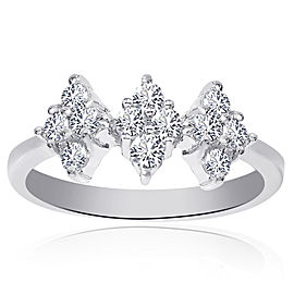 18K White Gold 0.45ct. Round Cut Diamond Triple Rhomb Cluster Ring Size 6.0