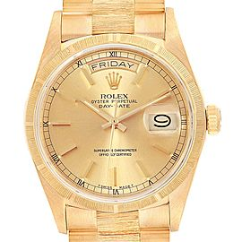 Rolex President Day-Date 36 Yellow Gold Bark Mens Watch 18078 Box