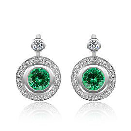14K White Gold Diamond and Emerald Earrings