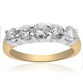 14K Yellow Gold Round Brilliant Diamond Wedding Band