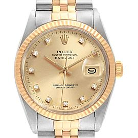 Rolex Datejust Steel Yellow Gold Diamond Dial Vintage Mens Watch 16013