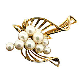 Mikimoto 14K Yellow Gold Grape Bunch Pearl Floral Pin Brooch