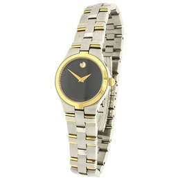 Movado 0605031 Juro Two Tone Stainless Steel Gold Plate Womens Watch
