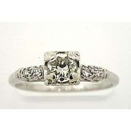 Vintage Platinum .40Ct Diamond Solitaire Plus Engagement Ring Size 6.
