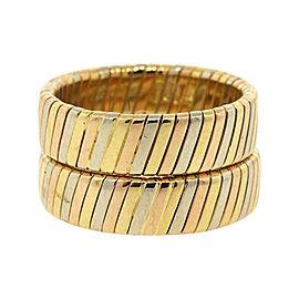 Bulgari 18K Yellow White Rose Gold Lined Weave Braided Wedding Band Ring Size Small