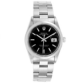 Rolex Date Black Dial Domed Bezel Automatic Steel Mens Watch 15200