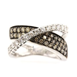 Levian 14K White Gold Chocolate Diamond Crossover Band Ring