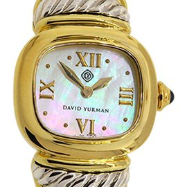 David Yurman 18K Yellow Gold Sterling Brown Leather Mother Of Pearl Watch