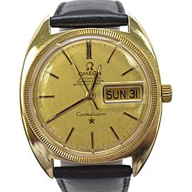 Omega Constellation 14K Yellow Gold / Leather with Brown Dial Vintage 34mm Mens Watch
