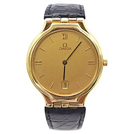 Omega De Ville 18K Yellow Gold / Leather with Yellow Dial 32mm Womens Watch