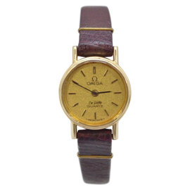 Omega De Ville 14K Yellow Gold / Leather with Brown Dial Vintage Womens Watch