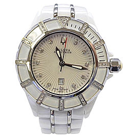 Bulova Accutron 65R137 Stainless Steel / Ceramic with White Mother-of-Pearl Dial 36mm Womens Watch