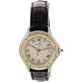 Cartier Panthere Cougar 187906 18K Yellow Gold Stainless Steel Diamond Womens Watch