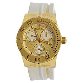 Invicta Wildflower 5924 Stainless Steel and Yellow Gold Dial White Polyurethane Band 37mm Womens Watch