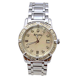 Bulova Stainless Steel with Mother of Pearl Dial and Diamond 26mm Womens Watch