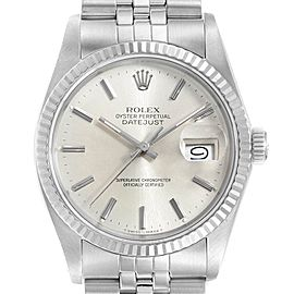 Rolex Datejust Vintage Steel White Gold Silver Dial Mens Watch 16014