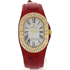 Bertolucci 313 68 504 18K Yellow Gold & Leather Diamonds Quartz 27mm Womens Watch