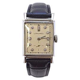 Longines 14K Solid White Gold Diamond Dial Unisex Wrist Watch