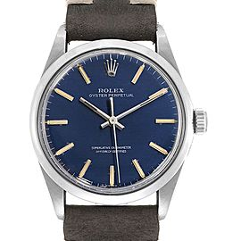 Rolex Oyster Perpetual Blue Dial Vintage Steel Mens Watch 1002