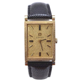 Omega 14K Yellow Gold / Leather with Champagne Dial Vintage Mens Watch