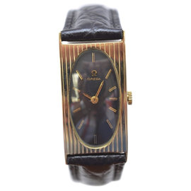 Omega 14K Yellow Gold / Leather with Black Dial 19mm Unisex Watch
