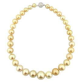 14k White Gold South Sea Pearl Diamond & Sapphire Necklace