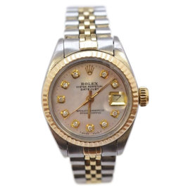 Rolex Datejust Stainless Steel & Yellow Gold Mother of Pearl Diamond Dial Womens Watch