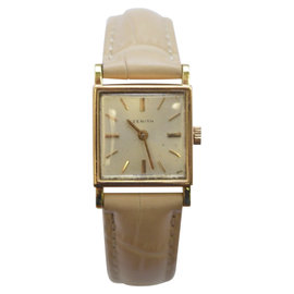 Zenith 18K Yellow Gold & Leather Manual Vintage 31mm Womens Watch