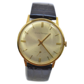 Girard Perregaux Sea Hawk Gold & Leather Vintage Mens Watch