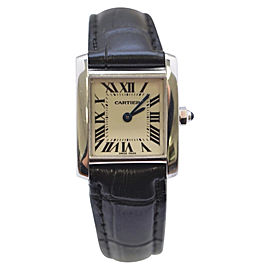 Cartier Tank Francaise 2403 18K White gold / Leather 23mm Womens Watch
