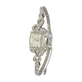 Hamilton 14K White Gold Diamond 14mm Womens Vintage Watch