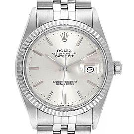 Rolex Datejust Vintage Steel White Gold Silver Dial Mens Watch 16014