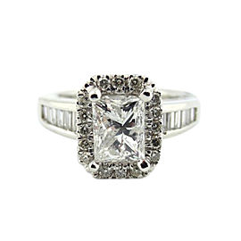 Platinum 2.03Ct Natural Princess and Round 2.03Ct Diamond Engagement Ring
