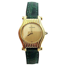 Boucheron 18k Yellow Gold Green Leather Strap 31mm x 34.5mm Quartz Watch