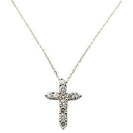 18K White Gold 1.21Ct Diamond Cross Pendant Necklace