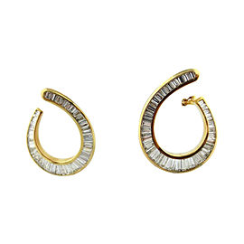 18k Yellow Gold 5.54Ct Baguette Diamond Swirl Earrings