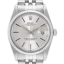 Rolex Datejust Steel White Gold Fluted Bezel Vintage Mens Watch 16014