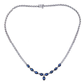 14K White Gold 4.50 Ct Dark Blue Sapphire and 0.35 Ct Diamond Necklace