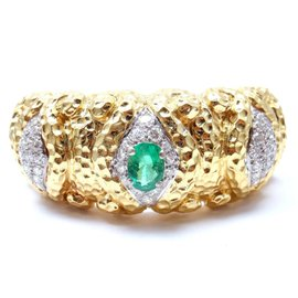 Wander France 18K Yellow Gold 3.00ctw Diamond 1.75ct Emerald Cuff Bracelet