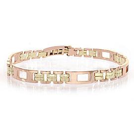 Tiffany & Co. 14K Rose and Yellow Gold Vintage Mens Link Bracelet