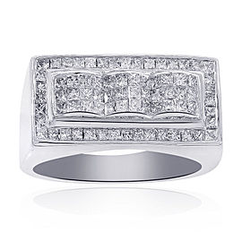14K White Gold 1.50 Ct Invisible Setting Princess Cut Diamond Ring Size 10.5