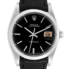 Rolex OysterDate Precision Black Dial Steel Vintage Mens Watch 6694