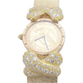 Corum 14K Yellow Gold wDiamonds $5 Gold Coin Dial Quartz Womens Watch