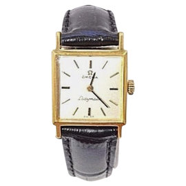Omega Gold Plated / Leather with White Dial Womens Watch