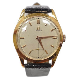 Omega 18K Yellow Gold / Leather Mens Watch
