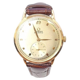 Omega 14K Yellow Gold / Leather with Gold Dial Vintage Mens Watch