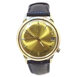 Bulova Accutron 14K Yellow Gold / Leather with Champagne Dial Mens Watch