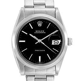 Rolex OysterDate Precision Black Dial Steel Vintage Mens Watch 6694