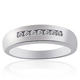 14K White Gold 0.20 Ct Round Cut Diamond Wedding Band Ring Size 10.25